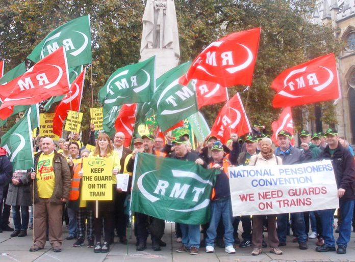 Southern rail guards and their supporters lobbying Parliament last November