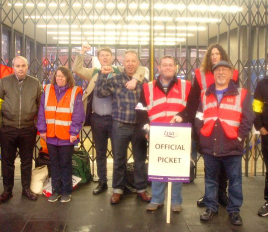RMT and TSSA Tube strikers on the picket line at King's Cross last month