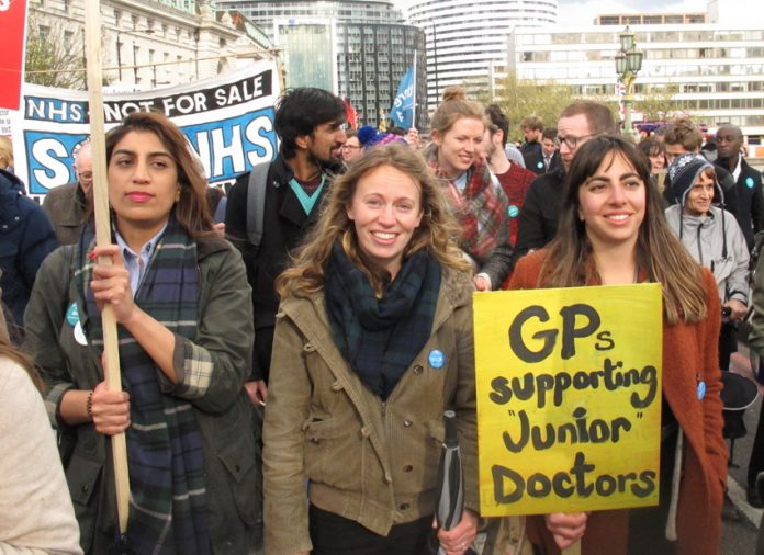 GPs on a march in support for junior doctors – newly qualified GPs are being stopped getting jobs because of Capita administration delays