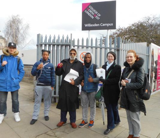 Suspended North West London College UCU branch secretary INDRO SEN (centre) on the picket line outside the college with students and lecturers yesterday morning