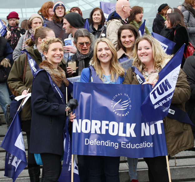 Teachers protesting in Norwich against cuts. The NUT has a rally today in Manchester