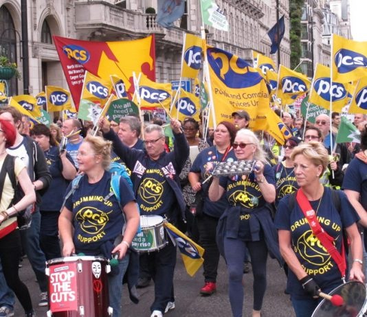 PCS delegation on a TUC demonstration against Tory government cuts