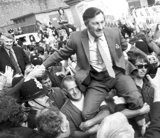 The anti-union laws that Tory Premier Heath introduced were smashed when the mass movement for a general strike forced the release of five imprisoned dockers – picture shows BERNIE STEER and VIC TURNER being liberated from Pentonville Prison