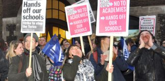 Teaching unions on a demonstration against Tory cuts and academisation
