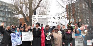 An emergency urgent mass picket was called after it was revealed that 600 beds would be axed, 8,000 jobs cut and the Ealing  A&E shut under the speeded-up STP cuts in North West London