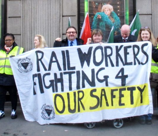 Supporters joined Southern rail striking guards on the picket line outside Victoria Station yesterday. 'All the rail unions should take action together' – Steve Hedley