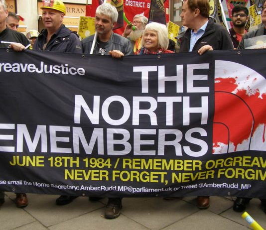 Banner commemorating the June 18th 1984 state attack on striking miners at Orgreave