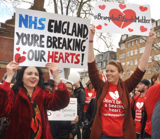 Part of Saturday's 1,000-strong demonstration showed the determination to stop the closure of the Royal Brompton Hospital life-saving heart and lung disease services