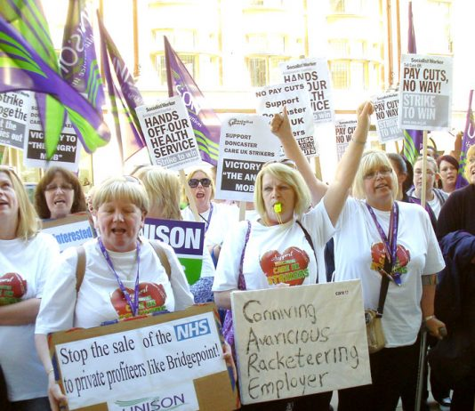 Care UK workers lobbying the company offices in London during their strike action over their atrocious conditions – a quarter of the country's 2,500 homecare providers are at risk of going bankrupt while almost 70 have closed down in the last month