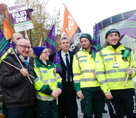 NHS ambulance workers picket their London HQ over wages and jobs