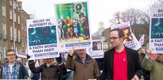 Irish bank workers marching against austerity