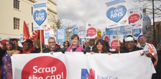 RCN banner demanding the scrapping of the government's one per cent pay cap