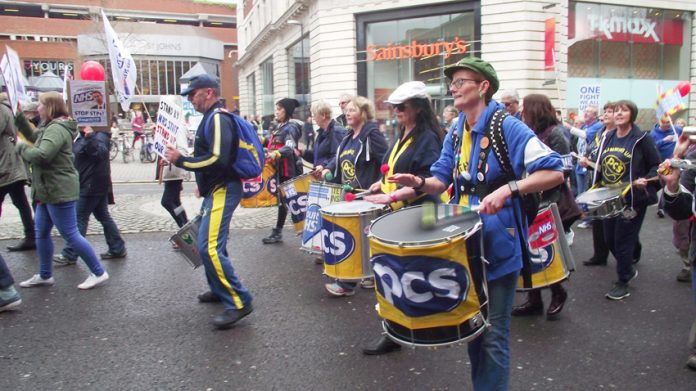 PCS contingent marching with health workers and their supporters in Leeds on Saturday