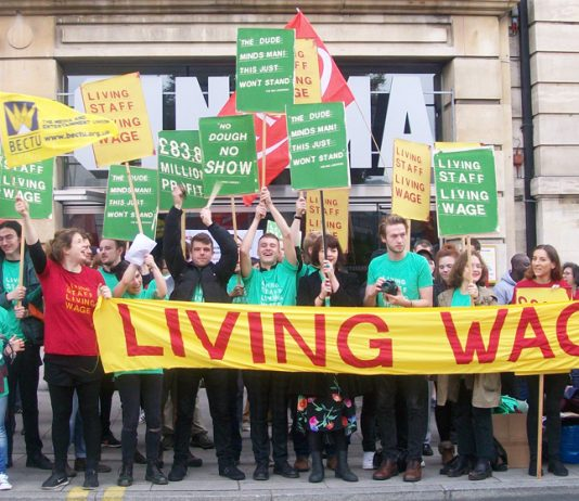 Picturehouse cinema workers rally in Hackney during their strike action last October