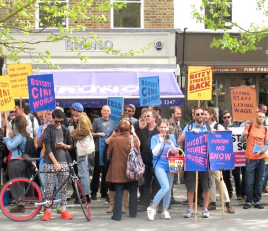 A section of the demonstration at East Dulwich Picturehouse by fellow strikers from Brixton, Hackney, Crouch End and Central London Picturehouses