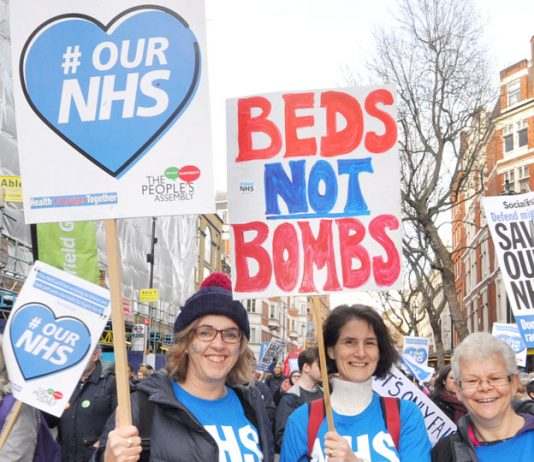 Marchers in defence of the NHS don't want funds diverted to Trident missiles