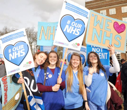 Nurses on the NHS march through central London last month – nurses are caring for eight or more patients which is unsafe