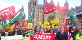 Over 150 RMT members demonstrated for train safety and the ending of Driver Only Operation outside Parliament yesterday