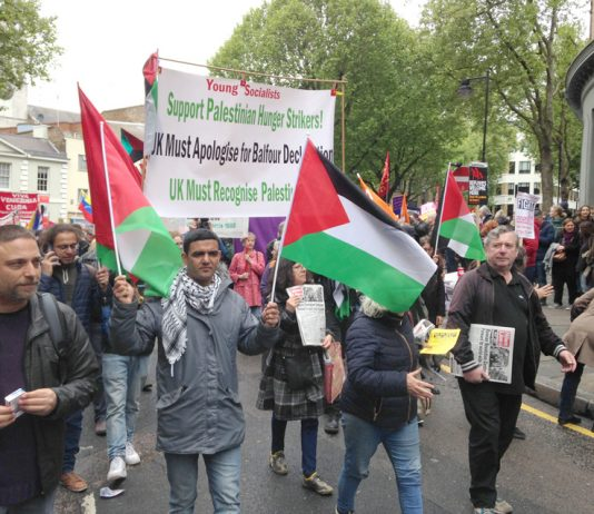 Palestinians marched with the WRP and the Young Socialists supporting the hunger strikers and demanding that the UK apologise for the Balfour Declaration and recognise Palestine