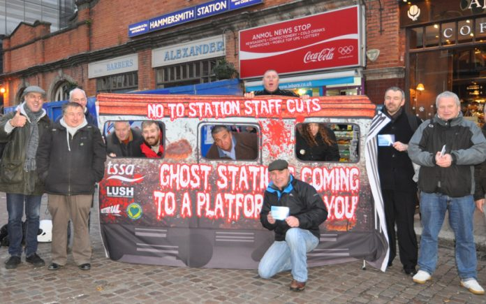 Demonstration outside Hammersmith underground station against ticket office closures – Greater Anglia is doing the same