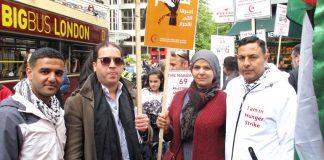 Palestinian footballer MAHMOUD SARSAK (left) with London Palestinian hunger striker AYSAR SHAMALLAKH (right) and his wife
