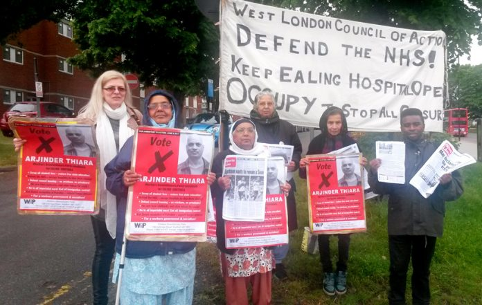 The 'Keep Ealing Hospital Open' picket insists that only the WRP's Arj Thiara will keep Ealing Hospital open