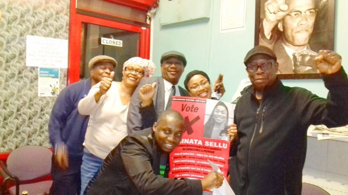 WRP candidate for Camberwell and Peckham, AMINATA SELLU (holding poster), with some of her supporters