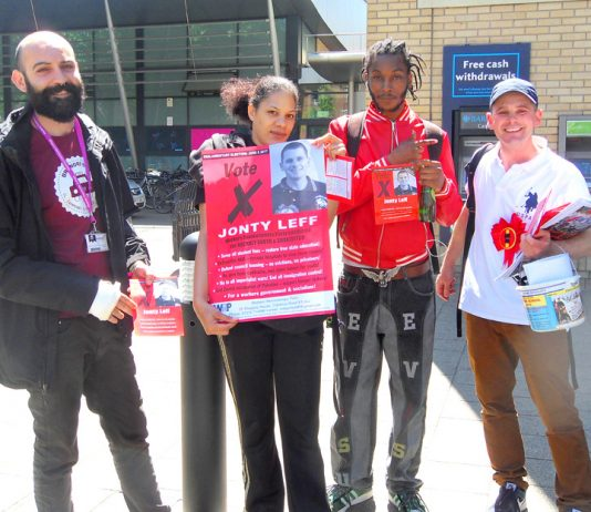 WRP candidate JONTY LEFF (right) was greeted with a lot of support from students at Hackney Community College yesterday