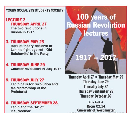 100 years of the Russian Revolution Lecture 3 – Tonight