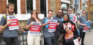 BECTU pickets outside East Dulwich Picturehouse welcomed WRP candidate for Camberwell and Peckham Aminata Sellu