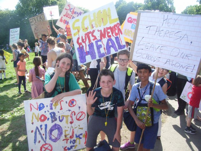 Teachers, pupils and parents taking part in last Friday's 'Fair Funding for All Schools' national mobilsation