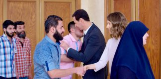 Syrian President BASHAR AL-ASSAD and his wife ASMA received thirty-four residents of Barzeh who were detained by the armed terrorist groups  before they were lately released