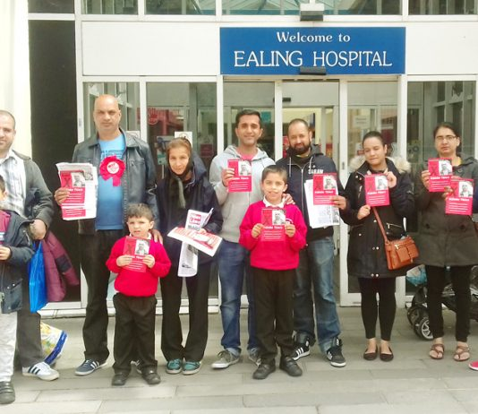 ARJINDER THIARA, WRP candidate for Ealing Southall got massive support at Ealing Hospital yesterday on the eve of the election