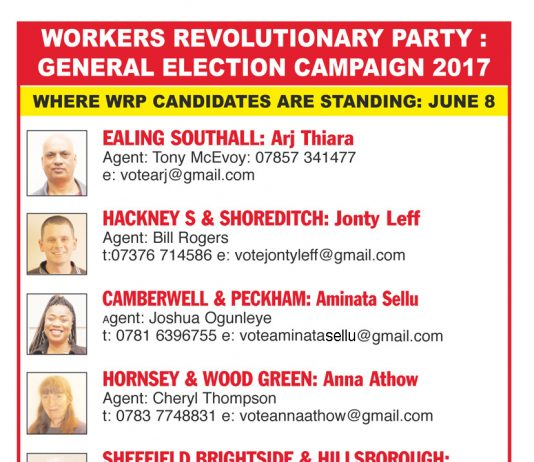 Workers Revolutionary Party General Election Candidates
