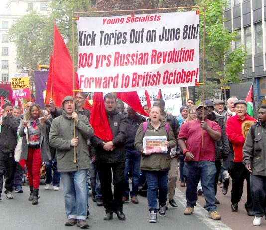 Young Socialists banner on the May Day march