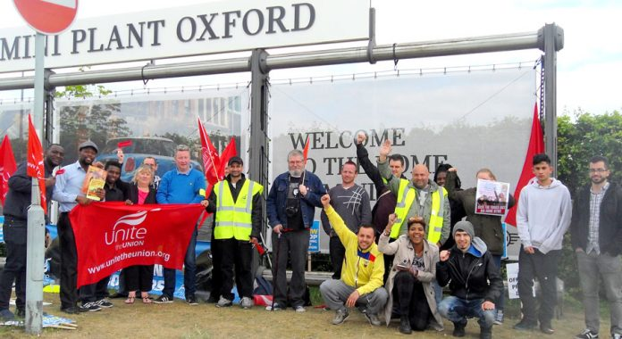 Young Socialists members joined BMW carworkers on the picket line in Oxford during their last strike in April