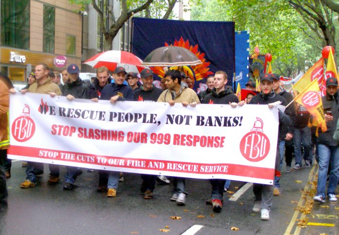 FBU demonstration in London against Fire Service cuts