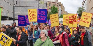 Workers from the Ritzy cinema in Brixton marching to demand the London Living wage. Three union reps there have been sacked