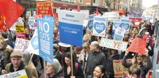 BMA, RCN and other unions demonstrating in defence of the NHS in March