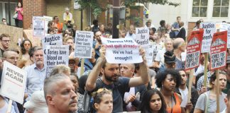 Angry Grenfell Tower residents and supporters hold the goverment responsible for the fire tragedy