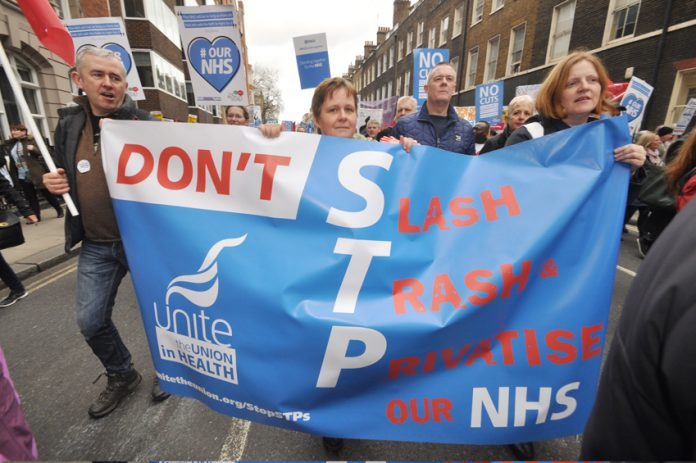 Marchers in defence of the NHS slam STP privatisation of services