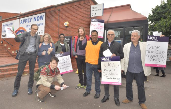 Lecturers on the picket line  at West London College in Hammersmith yesterday morning – fighting job cuts