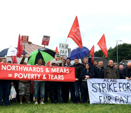 Striking Mears workers on the picket fighting for fair pay, they will be striking continuously from this Saturday until Friday August 4th