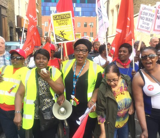 Striking SERCO workers at Barts NHS Trust at a rally at the Royal London Hospital in Whitechapel yesterday