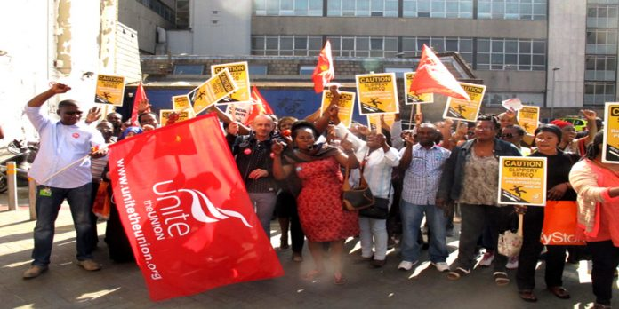 Striking Serco workers at the Bart's NHS Trust at Tuesday's rally outside the Royal London Hospital in Whitechapel in East London