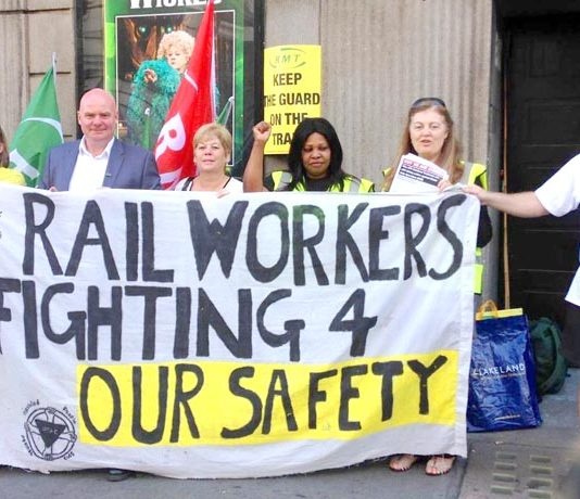 Southern picket at Victoria yesterday morning supported by Disabled People Against Cuts demanding safety and accessibility on all trains. Photo: RMT