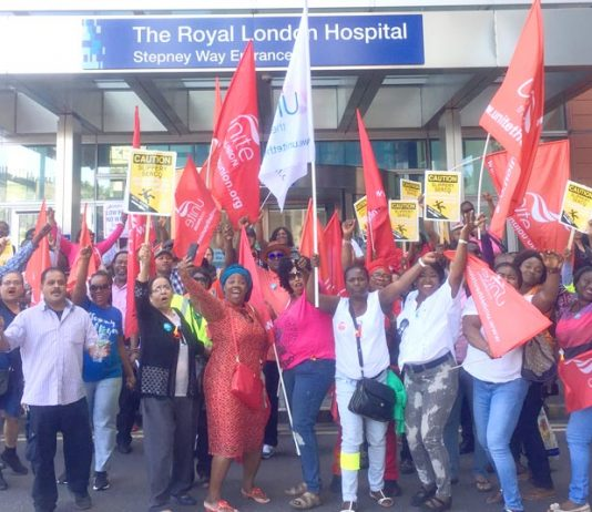 Two hundred Serco workers at Bart's NHS Trust outside the Royal London Hospital in Whitechapel last week – they begin their week-long strike today