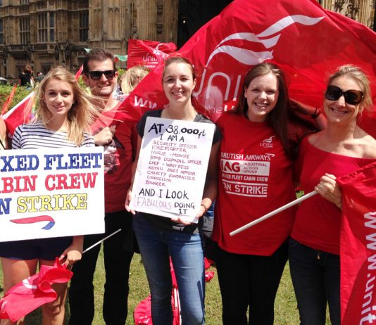 A group of very determined BA Mixed Fleet cabin crew strikers at the House of Commons yesterday afternoon