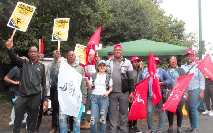 SERCO strikers on the picket line at Whipps Cross Hospital