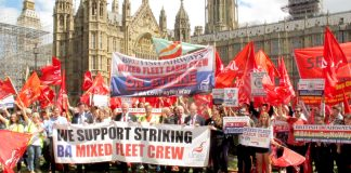 MPs stood behind the banner of the striking BA mixed fleet cabin crew outside Parliament last Wednesday